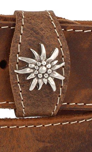 Trachtengürtel Original Trachtenkönig Herren zur Lederhose mit Edelweiss (90 cm, Hellbraun (Vollrindleder))_TK01_02_90 - 3