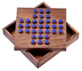 Solitär Gr. L - Solitaire - Steckspiel - Denkspiel - Knobelspiel - Geduldspiel - Logikspiel aus Holz - blaue Stecker