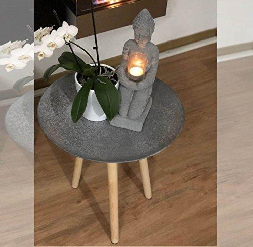 ASIA COUCHTISCH Tisch Design Beistelltisch Dreibein H 45 cm anthrazit traditionell modern asiatisches Feuergebranntes Design ~ds2 342