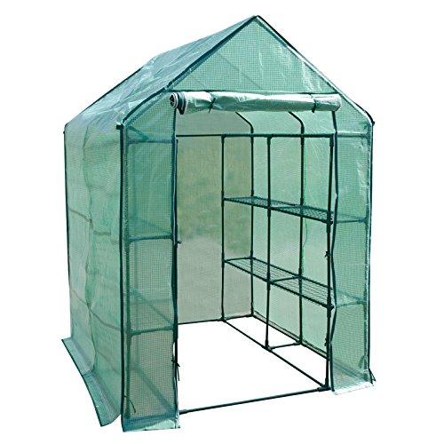 casa pura Serre de Jardin pour tomates et Autres Plantes | 12 ou 18 tablettes, Corde et piquets Inclus | résistant aux intempéries, stabilisé UV | Biotopia - 12 tablettes (143x143x195cm)