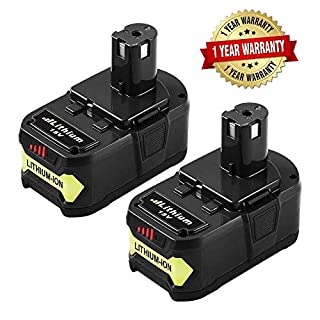 2 Pack 18V 4.0 Ah Li-Ion Replacement Battery for Ryobi ONE + Tools RB18L40 RB18L50 RB18L25 RB18L13 P108 P107 P122 P104 P105 P102 P103 Cordless Power Tools