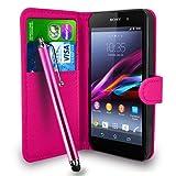 Sony Xperia Z1 COMPACT - Premium-Leder-Geldbörse Flip Hülle Tasche + Touch Pen Stylus + Display Schutzfolie & Poliertuch (Wallet Hot Pink)