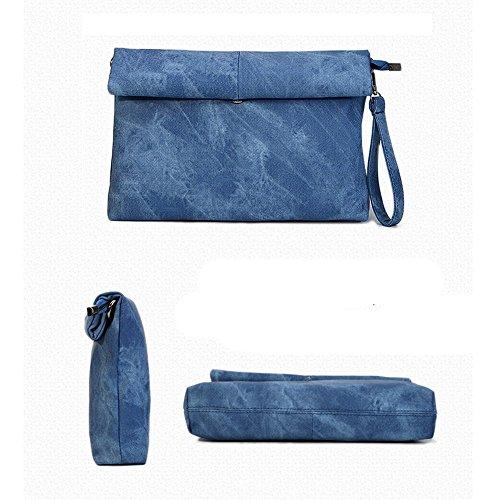 5 All Damen Clutch Abendtasche Vintage (Grau) Blau