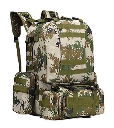 Sport Outdoor tattico militare zaino a spalla multifunzionale zaino da viaggio grande borsa da trekking, escursionismo, campeggio con 3molle smontabile borse zaini 60L, CP Woodland