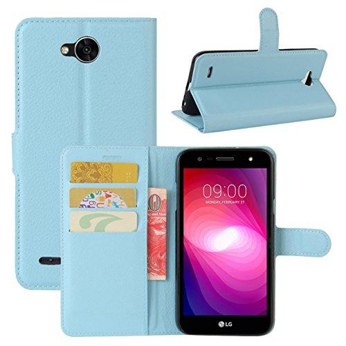 HualuBro LG X Power 2 HandyHülle, Leder Brieftasche Etui Lederhülle Tasche Schutzhülle Hülle [Standfunktion] Handytasche Flip Case Cover für LG XPower 2, LG X Power II (Blau)