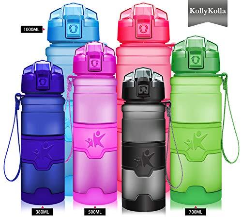 KollyKolla Sport Trinkflasche BPA-frei Auslaufsicher Wasserflasche, 1L Tritan Sportflasche Kunststoff mit Filter für Kinder, Schule, Mädchen, Wasser, Fahrrad, Gym, Yoga, Camping, Mattgrau