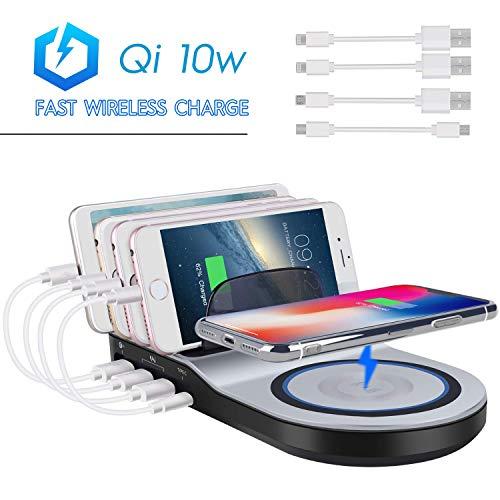 Multi Ladestation USB Ladegerät mehrfach Ladestation für mehrere Geräte Dockingstationen mit Fast Wireless Charger 10W Qi Ladefläche und 4 USB Ports für Smartphone Handy Tablet