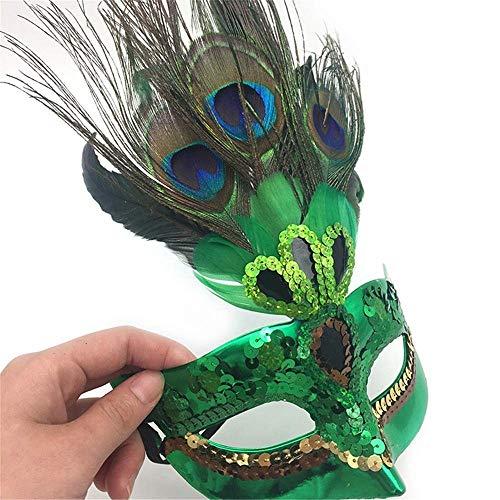 Venedig Maske mit Pfauenfeder Prinzessin Dame für Maskerade Party Dance Hochzeit Dekoration Halloween Weihnachten elegant (Hochzeit Halloween Elegante Dekorationen)