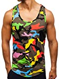 BOLF Herren Tank Top T-Shirt Muskelshirt Achselshirt mit Aufdruck Camo Army Motiv Sport Style Madmext 2272B Mehrfarbig M [3C3]