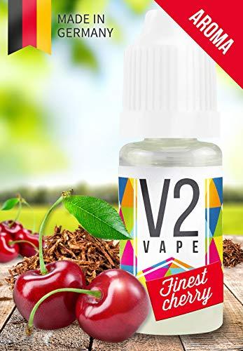 V2 Vape Finest-Cherry Tabak AROMA / KONZENTRAT hochdosiertes Premium Lebensmittel-Aroma zum selber mischen von E-Liquid / Liquid-Base für E-Zigarette und E-Shisha 10ml 0mg nikotinfrei