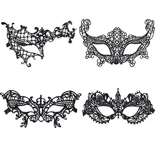 Sexy Damen Spitzenmaske Venezianische Augenmaske Gotische Masken Geeignet für Karneval Maskerade Halloween Party (4 Stück) ()