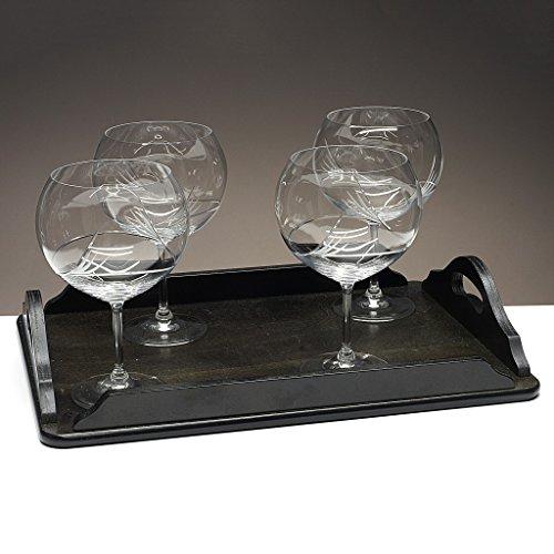 Set/Étui de 4 Coupes en Verre pour gin Tonic + Plateau en Bois Couleur wenge rectangulaire, taillées à la Main, Collection 429\