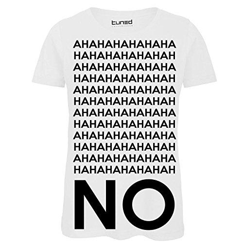 Chemagliette! t-shirt divertente donna maglietta con stampe frasi ironiche nerd ahahaha no tuned, colore: bianco, taglia: 2xl