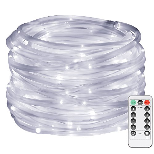 LE 120er LED Lichterschlauch 10M Kaltlichtweiß 8 Modi mit Memory-Funktion für Innen Außen Party Weihnachten Dekolicht