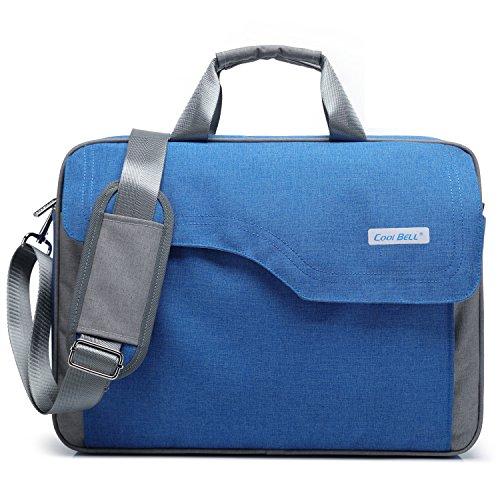 CoolBELL 15,6 Zoll Laptop Tasche Nylon Schultertasche mehrfach Abteil Messenger Bag Handtasche Tablet Aktentasche für Laptop / Tablet / Macbook,Blau