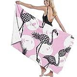 tondj Poolhandtuch Half Flamingo und Ananas Pink Weiß Outdoor Picknick Matte Sand Proof Reisetuch Stranddecke Bad Pool Yoga 80X130cm