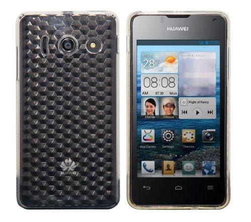 Luxburg® Diamond Design Schutzhülle für Huawei Ascend Y300 in Farbe Bergkristall Weiß, Hülle Case aus TPU Silikon