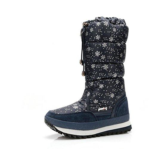 Donna alto neve stivali Thicker Plus Cashmere piatto nero bianco cadere inverno allaperto Blue