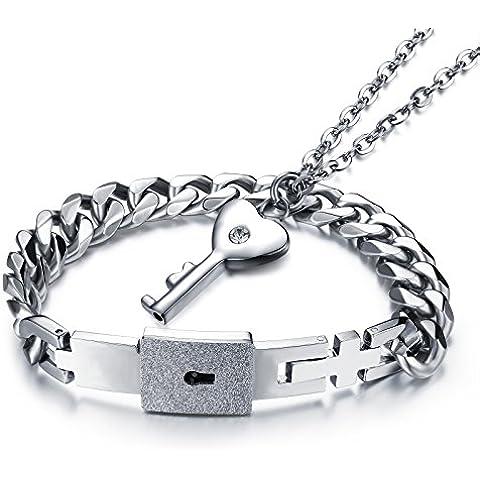 M. JVisun serratura e chiave coppia Matched Set in acciaio inox, bracciale, collana per ragazza