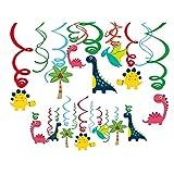 Sayala 30 Stücke Deko-Set * Dinosuar * für Kindergeburtstag und Motto-Party // Dinosaurier Deckenhänger Spiral Girlanden für Dinoparty Jungen Kindergeburtstag Party (Dinosuar)