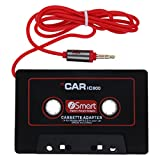 iPrime Kassettenadapter KFZ Auto Radio-Adapter mit 3,5mm Aux Klinke für iPhone, Samsung, Sony, Huawei, iPod, iPad, MP3-Player, Smartphones - Schwarz