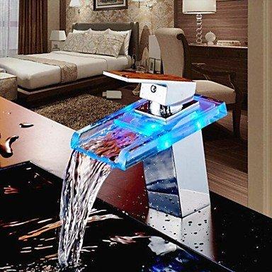 Y & M robinet contemporaine robinet lED/Cascade/Tirage Arroseur Valve en céramique levier unique trou unique chrome bain robinet de l'évier