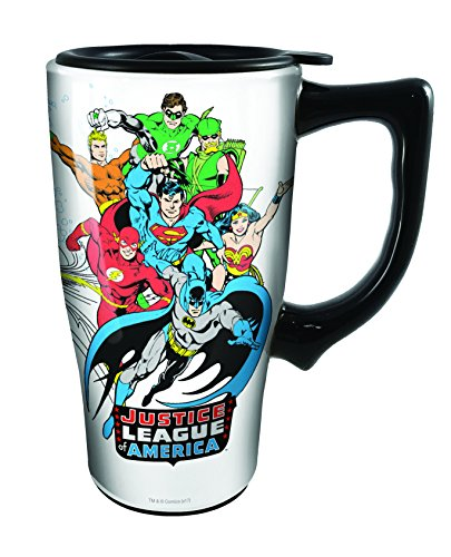 Spoontiques 12793 Justice League Ceramic Travel Mug, White