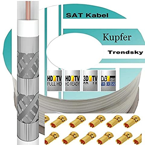 +10 F-Stecker Trendsky 50m Reines-Kupfer 135db Sat Koax Satelliten Koaxial Kabel