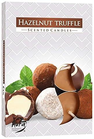 Lot de 6bougies chauffe-plat: Truffe de noisette/Hazel Nut Truffle, temps de combustion 4heures, dimensions env. 3,9x 1,2cm