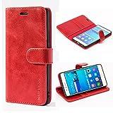 Mulbess Ledertasche im Ständer Book Case / Kartenfach für Huawei P9 Lite Tasche Hülle Leder Etui,Wine Rot