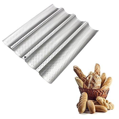 Moule à four pour pain Peut contenir 4baguettes Antiadhésif, robuste, en acier au carbone Approuvé par la FDA, Acier anthracite, Silver, 33*38CM