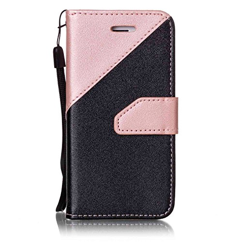 Leder Hülle für iPhone SE,iPhone SE Hülle Glitzer,iPhone SE Hülle Blumen,iPhone SE Hülle Flip Case Handy Tasche Wallet Case Flip Cover Etui für iPhone 5S 5,iPhone SE Hülle Schwarz,EMAXELERS iPhone SE  Hit Color 10