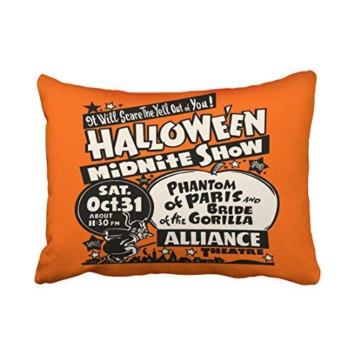 Hipiyoled Custom Vintage Spook Show Poster Halloween Midnite Show Throw Pillow Covers Cases Cushion Cover Case Sofa 20x30 Inches Two Side