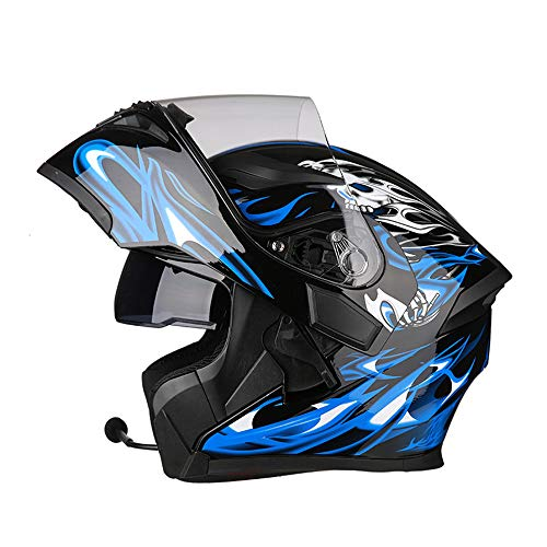 ZXLO Casco da Moto Bluetooth Casco da Corsa, Flip Up Modulare Integrato O Full Face Comunicazione con Doppio Visore A Doppia Faccia (Sistema FM Radio Bluetooth Integrato),Blueandblack,XXXL