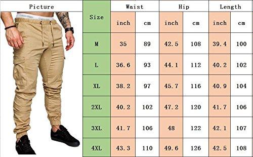 SOMTHRON Uomo Cintura elastica in cotone lungo da jogging Pantaloni sportivi taglie forti Pantalone sportivo da lavoro con pantaloncini Pantaloni da jogging Pantaloni Activewear (DG-M)