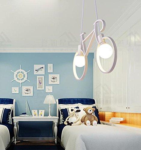 LINA-Europea American retro camera da letto soggiorno sala da pranzo contemporanea Garden Café Lampadario in ferro bicicletta luce bambini camera arte , white