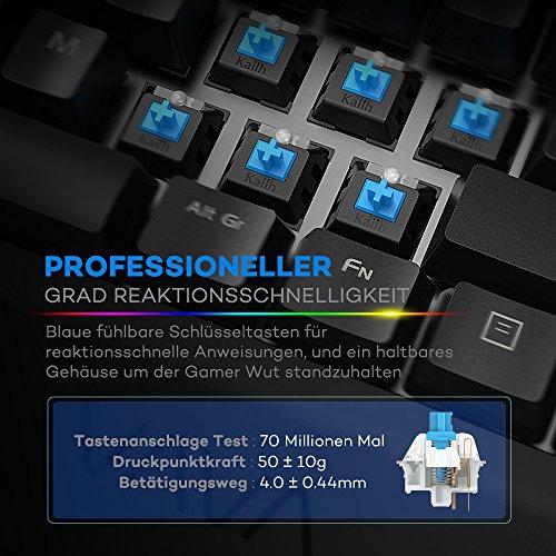 Mechanische Tastatur VAVA Gaming Tastatur 16.8 Millionen RGB Farben, Blaue Switsches, 100% Anti-Ghosting, 104 Tasten Robuste UV-Beschichtung, Ergonomisches Design, Deutsches Layout QWERTZ - 4