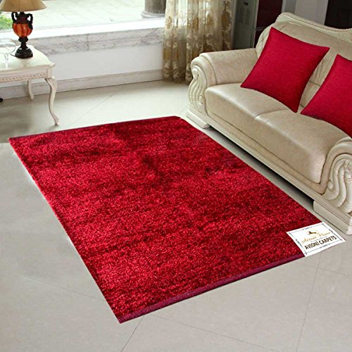 Avioni Handloom Rugs For Living Room Solid Dark Red (Mahroon) Colors Reversible-4 Feet X 6 Feet