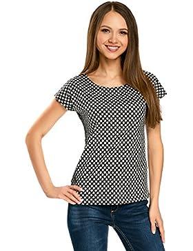 oodji Ultra Mujer Camiseta Ancha de Algodón