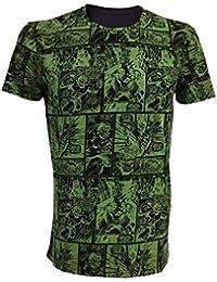Marvel Comics Incredible Hulk Adult Male Classic Green Comic Strip T-Shirt, Large, Green/Black (Ts210805mar-L)