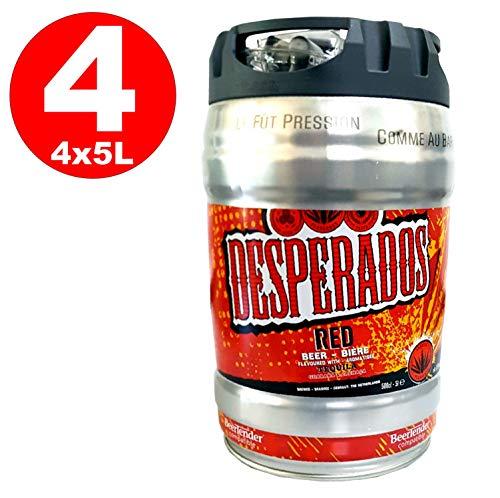 4 x Desperados red Bier mit Tequila, Guarana, Cachaca, Partyfass 5 Liter Fass inkl. Zapfhahn 5,9{dd4370d2d8d8be42d3bbdfd28cc88b6793cf622585e32b8696e462b5d7b5c095} vol.