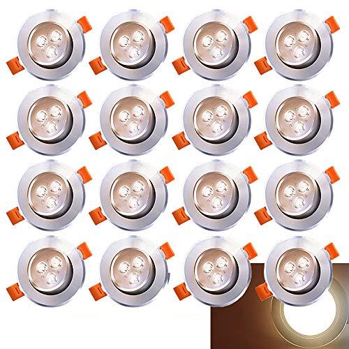 er Einbau-Spots Schwenkbar 3W Leuchtmittel Decken-Leuchte Einbaulampe Warmweiß Deckeneinbauleuchte Spots 230V ()