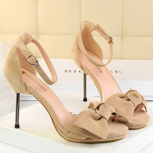 Azbro Women's Open Toe Bow Ankle Strap High Heels Sandals Khaki