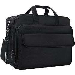 Taygeer 17,3 Zoll Laptop-Tasche,erweiterbar Computer Umhängetasche,wasserdicht Reise Büro Umhängetasche für Männer,weitermachen Griff Business Aktentasche für Tablet/Notebook/Acer/Dell/Asus-Schw