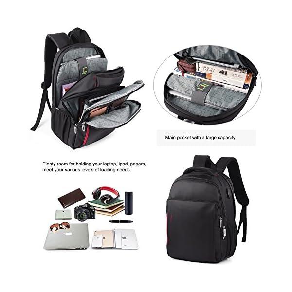 51IybAhzkzL. SS600  - Vbiger - Mochila de trabajo multiusos de 15,6 pulgadas, bolsa bandolera para ordenador portátil, bolsa para estudiantes con bolsillo Frid, color negro