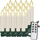 20 LED Weihnachtsbaumkerzen Kabellos | Warmweiß | Fernbedienung & Timerfunktion I Flackern Dimmbar - Weihnachtskerzen Weihnachtsdekoration Weihnachtsbaumbeleuchtung Christbaumkerzen
