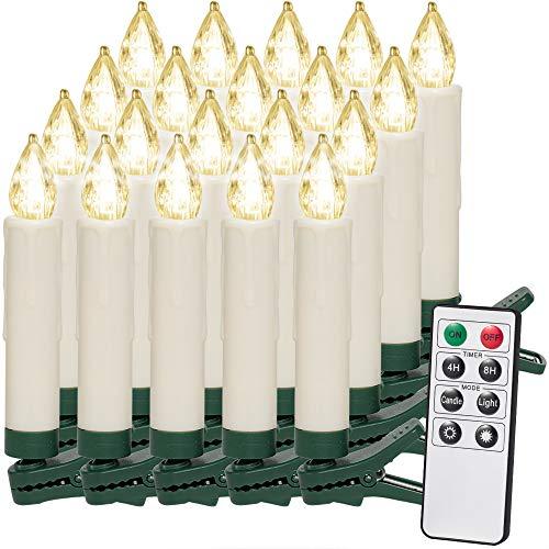 20 LED Weihnachtsbaumkerzen Kabellos   Warmweiß   Fernbedienung & Timerfunktion I Flackern Dimmbar - Weihnachtskerzen Weihnachtsdekoration Weihnachtsbaumbeleuchtung Christbaumkerzen