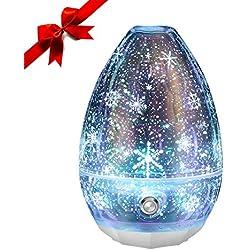 Sancusto - Difusor de Aceite Perfumada, Humidificador Aromaterapia, Difusor de Aceite Esencial de Aromaterapia, 3D vidrio ABS PP, para Yoga, regalo, Navidad, Oficina