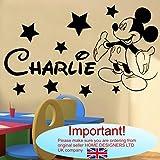 Autocollant mural Mickey Mouse personnalisable, Vinyle, noir, -Large -SIZE 120cm x...