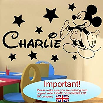 Wall Sticker   Mickey Mouse Personalised Name (Any Name,Text)u2026  Large  SIZE  120cm X 40cm (48